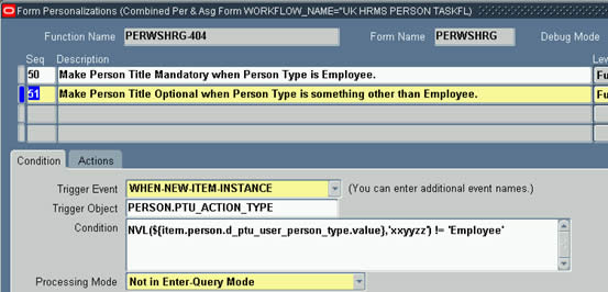 Check if Person Type is anything other than Employee in When New Item Instance